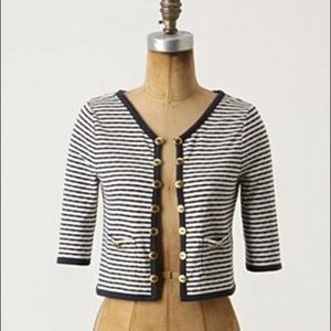 Anthropologie Striped Cropped Cardigan Sweater